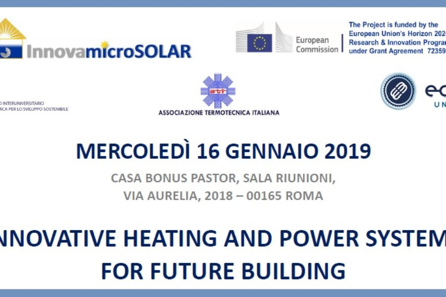 Roma, 16 gennaio: Workshop Innovative Heating and Power Systems for Future Building
