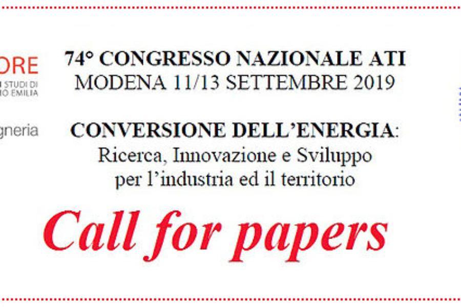 Aperta la CALL FOR PAPERS per il 74° Congresso Nazionale ATI, Modena 11-13 settembre 2019